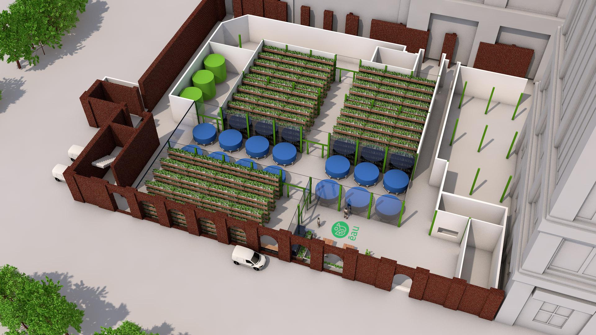 Nous développons des fermes aquaponiques qui produisent des aliments frais, sains et locaux, toute l'année, quelles que soient les conditions climatiques